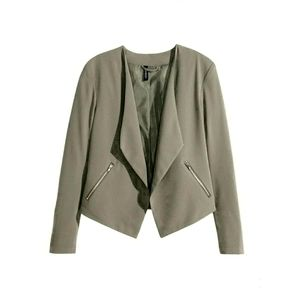 H&M HM Drapey Open Olive Blazer